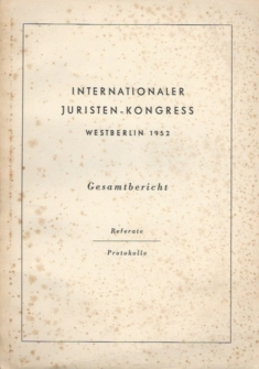 Internationaler Juristen-Kongress Westberlin 1952